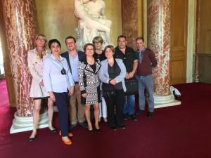 """""""Les Pendus"""" de Carcassonne en visite au Sénat le 12 mai 2015"""