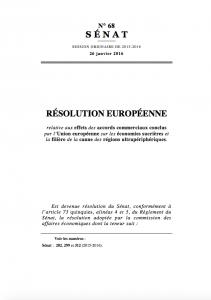 La résolution européenne dont je suis l'auteure sur les effets des accords commerciaux sur le sucre dans lesOutre-mer